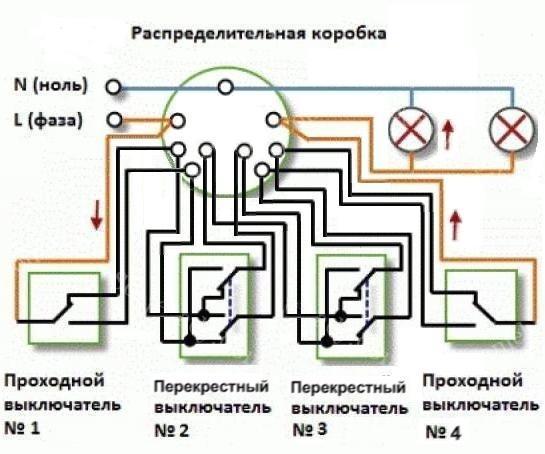 Проходные выключатели схема подключения из 4 мест